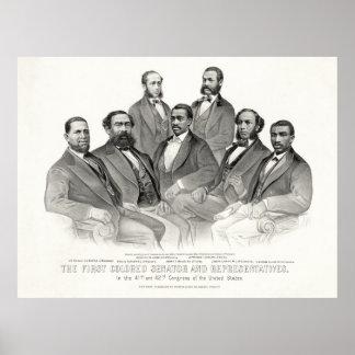 Primer senador y representantes coloreados póster