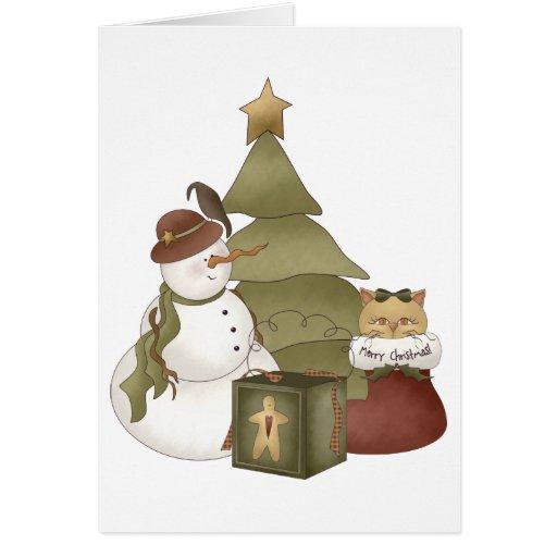 Primer Snowel · Muñeco de nieve y gato Tarjeta De Felicitación