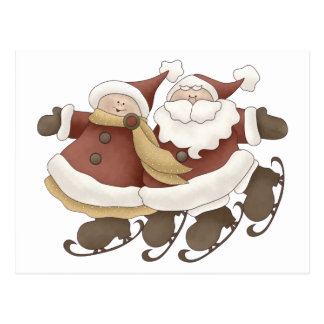Primer Snowel · Santa y señora Claus Tarjeta Postal