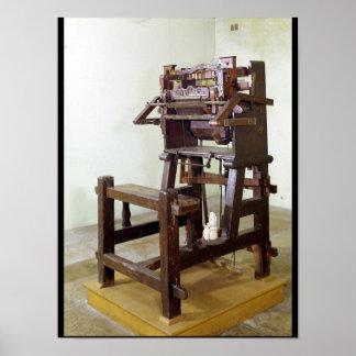 Primer telar para las medias que tejen, 1750 póster