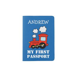 Primer tenedor rojo del pasaporte del tren del porta pasaporte