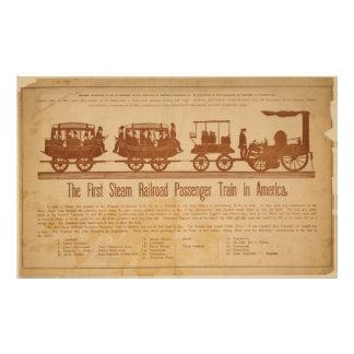Primer tren de pasajeros del ferrocarril del vapor fotografías