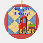 Primer tren feliz de Choo Choo del cumpleaños Adorno De Navidad