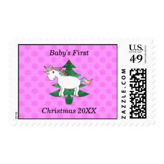 Primer unicornio del navidad del bebé estampillas