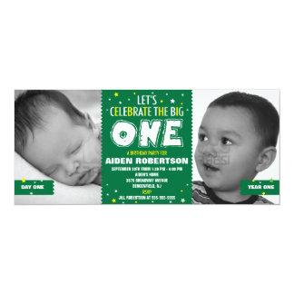 Primer verde del cumpleaños del bebé invitacion personal
