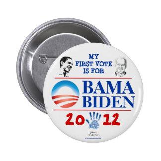 Primer voto para OBAMA/BIDEN en 2012 Demócratas jo Pin Redondo De 2 Pulgadas