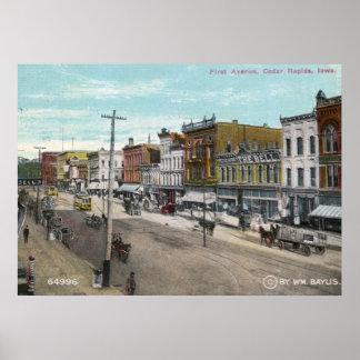 Primera avenida., Cedar Rapids, vintage 1911 de Póster