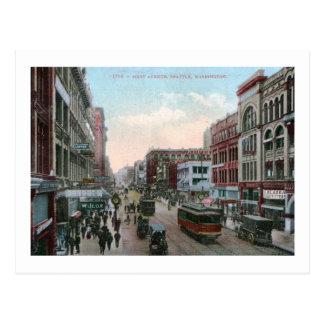 Primera avenida., vintage 1909 de Seattle, Tarjetas Postales