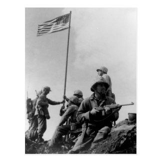 Primera bandera de Iwo Jima que aumenta el 23 de Postal
