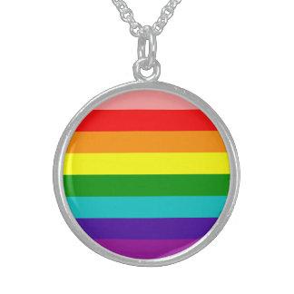 Primera bandera del orgullo del arco iris collares de plata esterlina