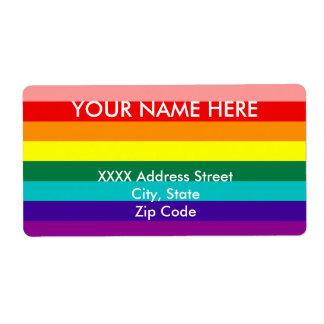 Primera bandera del orgullo del arco iris etiquetas de envío