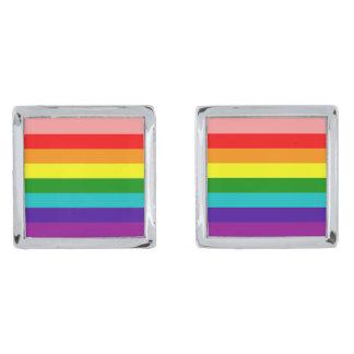 Primera bandera del orgullo del arco iris gemelos plateados