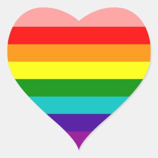 Primera bandera del orgullo gay del arco iris pegatina en forma de corazón