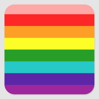 Primera bandera del orgullo gay del arco iris pegatina cuadrada