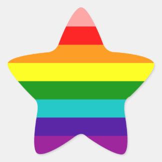 Primera bandera del orgullo gay del arco iris pegatina en forma de estrella