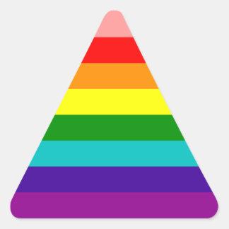 Primera bandera del orgullo gay del arco iris pegatina triangular
