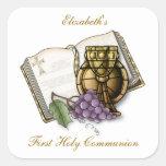Primera cáliz de la comunión, biblia, uvas calcomanía cuadradase
