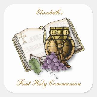 Primera cáliz de la comunión biblia uvas calcomanía cuadradase