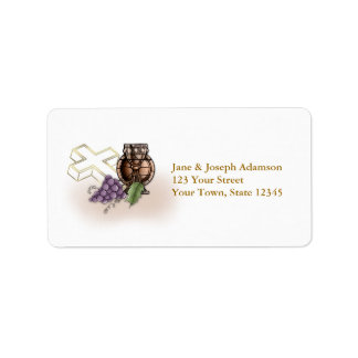 Primera cáliz de la comunión, cruz, uvas etiquetas de dirección