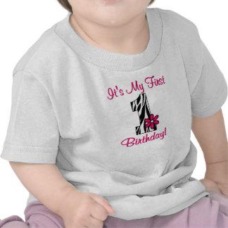Primera camisa de los chicas del estampado de zebr