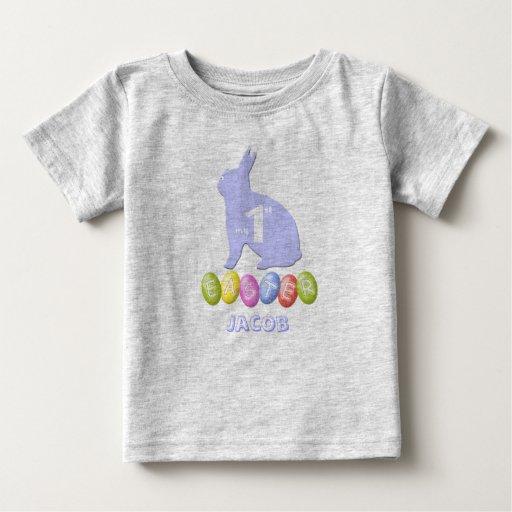 Primera camisa de Pascua del bebé con el conejito