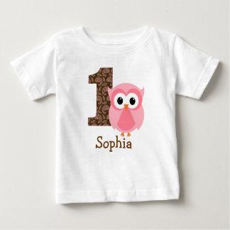 Primera camisa del cumpleaños del búho adaptable