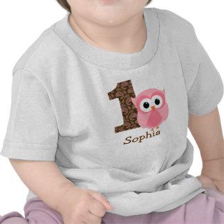 Primera camisa del cumpleaños del búho adaptable u
