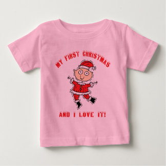Primera camiseta del bebé del navidad playera