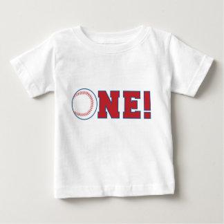 Primera camiseta del cumpleaños del béisbol playera para bebé