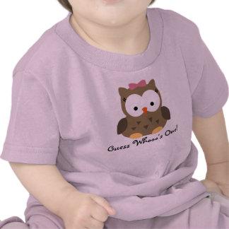 Primera camiseta del cumpleaños del búho lindo de