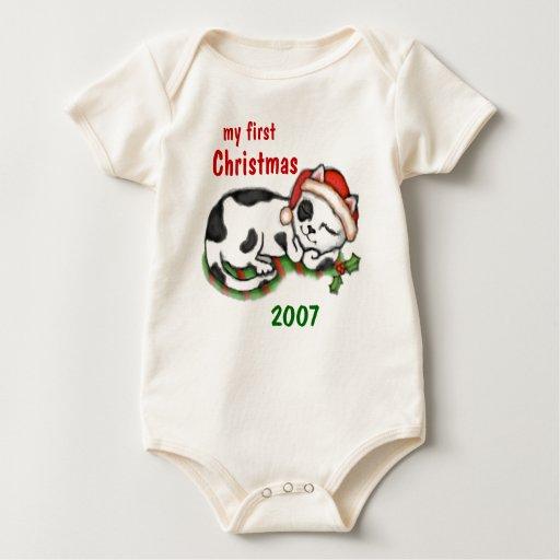 Primera camiseta del navidad del bebé mamelucos