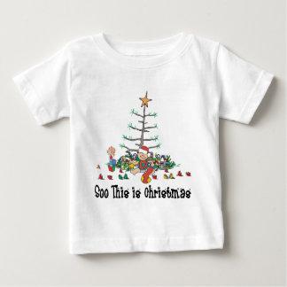 Primera camiseta del navidad del bebé playeras