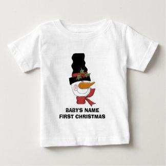 Primera camiseta del navidad del muñeco de nieve camisas