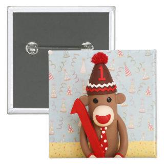 Primera celebración del mono del calcetín del pin cuadrada 5 cm