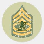 Primera clase de Sargent - remiendo militar Pegatina Redonda