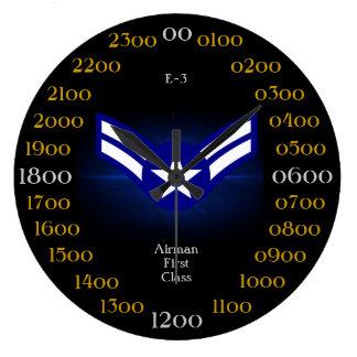 Primera clase E-3 del U.S.A.F. /Airman Reloj Redondo Grande