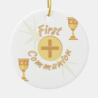 Primera comunión adorno navideño redondo de cerámica