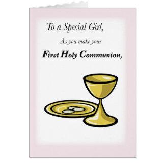 Primera comunión, chica especial tarjeta de felicitación