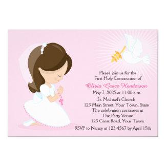 """Primera comunión, chica trigueno, rosado invitación 5"""" x 7"""""""