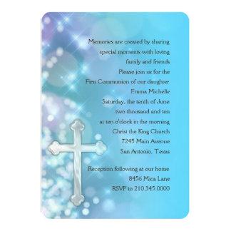 Primera comunión/chispa azul de la confirmación invitaciones personales