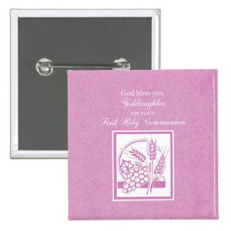 Primera comunión de la ahijada, rosada pin cuadrado