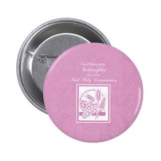 Primera comunión de la ahijada, rosada pin redondo de 2 pulgadas