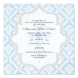 Primera comunión de la arpillera blanca cruzada invitación