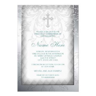 Primera comunión de la cruz blanca elegante del da invitación personalizada