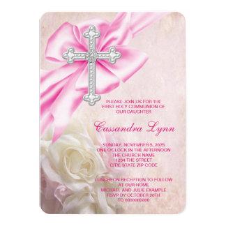 """Primera comunión de la cruz color de rosa rosada invitación 4.5"""" x 6.25"""""""
