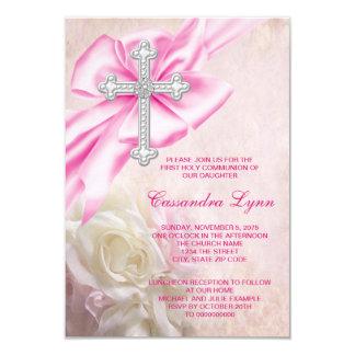 Primera comunión de la cruz color de rosa rosada invitación 8,9 x 12,7 cm