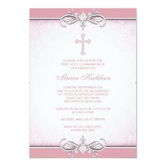 Primera comunión de la cruz rosada del damasco invitación 12,7 x 17,8 cm