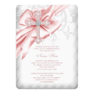 Primera comunión de la cruz rosada del damasco invitación 13,9 x 19,0 cm