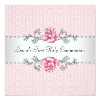 """Primera comunión de los chicas color de rosa invitación 5.25"""" x 5.25"""""""