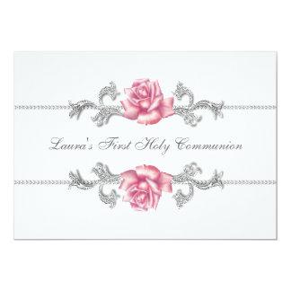 """Primera comunión de los chicas color de rosa invitación 5"""" x 7"""""""